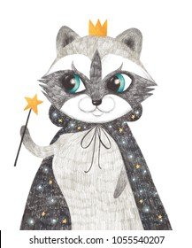 Cute raccoon. Magical showman. Hand drawn pencil drawing. Animal with crown. Nursery poster
