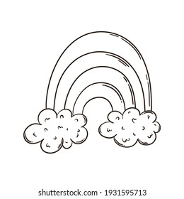Cute rainbow in the clouds. Outline. Doodle illustration. Coloring Book page. Prints, postcards, posters, emoticons, icons, tattoos, sketches.