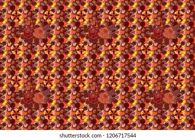 Cute raster floral background. Rose flowers seamless pattern in red, orange and brown colors.