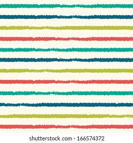 Cute raster seamless hipster background with stripes pattern in retro colors.