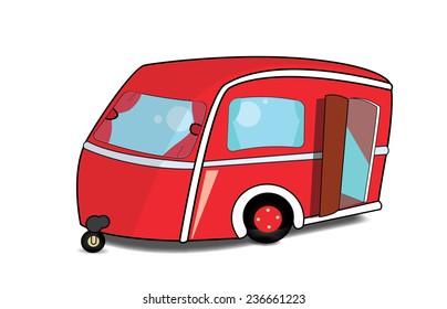 Cute red Caravan with its door open