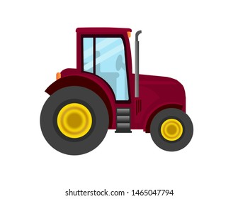 Cute red cartoon farm tractor.