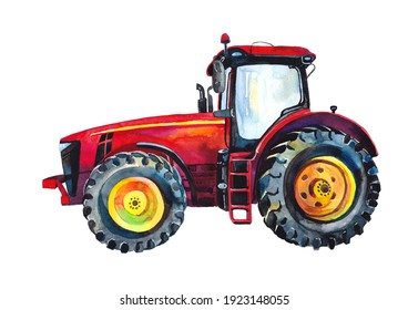 Cute red tractor. Watercolour. Print. Poster