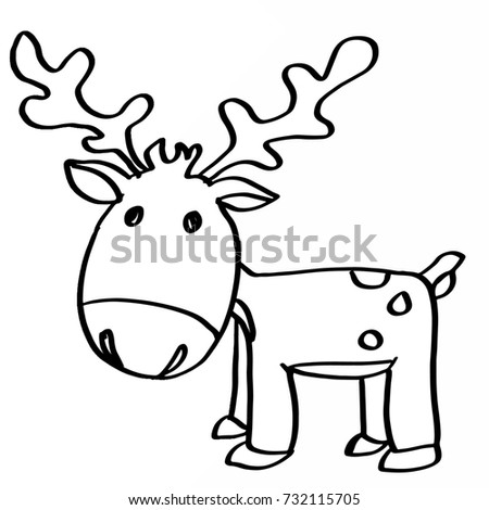 Cute Reindeer Cartoons Coloring Stock Illustration 732115705