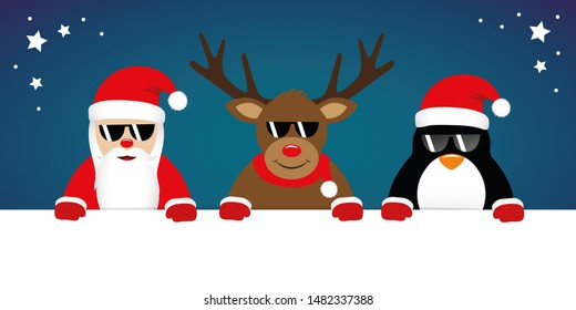 cute reindeer santa claus and penguin cartoon with sunglasses for christmas illustration