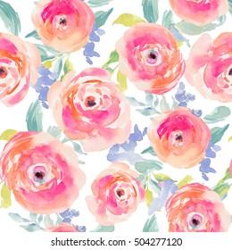Cute Repeating Pink Watercolor Flower Pattern with Peonies