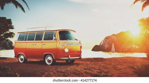 Cute retro car on a beach at beautiful sunset. Out of town.  Unusual 3D illustration of cartoon made up car