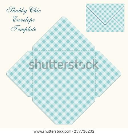 cute retro envelope template plaid ornament stock illustration