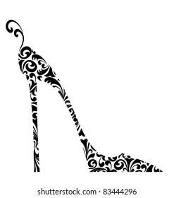 Cute retro fashion illustration of a high-heeled shoe with curlicues