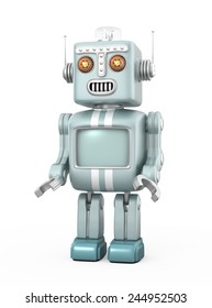 Cute retro robot isolated on gray background. Clipping path available.