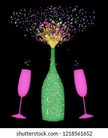 Cute retro uncorked champagne bottle with confetti and two champagne glasses