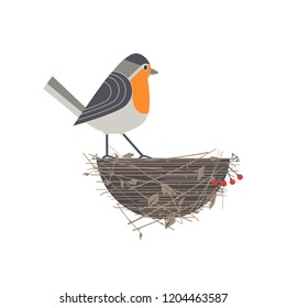 Cute Robin bird on nest icon. Fancy cartoon comic style. Winter birds of city garden, backyard. Stylized funny animal isolated. Element for banner background. Design of nature park advertisement
