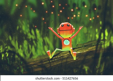 cute robot playing with fireflies in forest at night,illustration painting