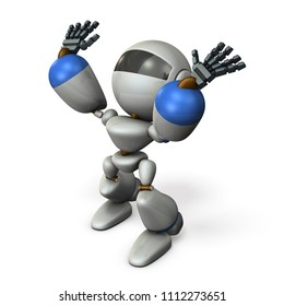 A cute robot that stands by raise both hands. 3D illustration