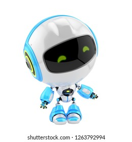 Cute robot toy with round head, 3d rendering