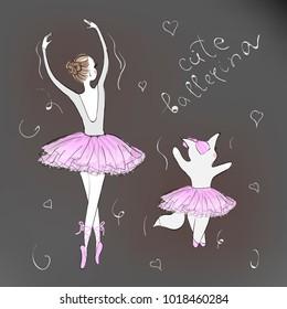 Cute Romantic Ballerina. Little Girl with Best Friend.