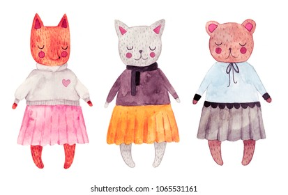 Cute romantic illustration. Watercolor little animals