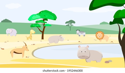 Animal At Watering Hole Stock Illustrations Images Vectors Shutterstock