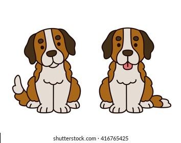 Cute Saint Bernard puppy. Adorable cartoon dog illustration.