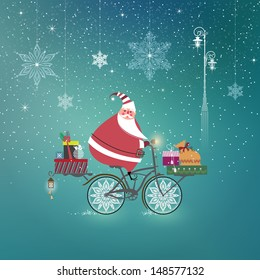 Cute Santa Claus on bicycle delivering Christmas gifts. Season�s Greetings. Holiday concept. Illustration.