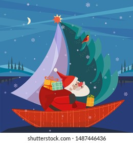 Cute Santa Claus sailing in festive sailboat with Christmas tree, gifts present. Fun boat on lake in snowy mountain valley. Colorful fun cartoon. Design element winter holiday season new year event