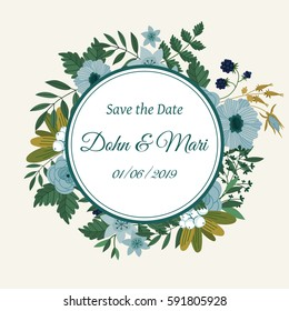Cute save the date template design card with flower decoration raster illustration