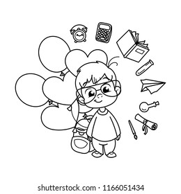 Cute school kid ready to education. Design element for print, t-shirt, poster, card, banner. Raster illustration. Coloring page