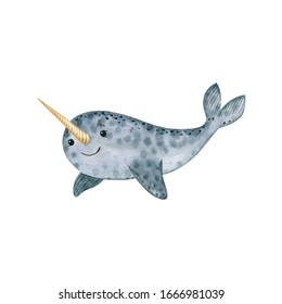 Cute sea narwhal-watercolor illustration isolated on white background. Cartoon stylized animal character, hand drawn clipart. Illustration for clothes, stickers, baby shower, greeting cards, prints.