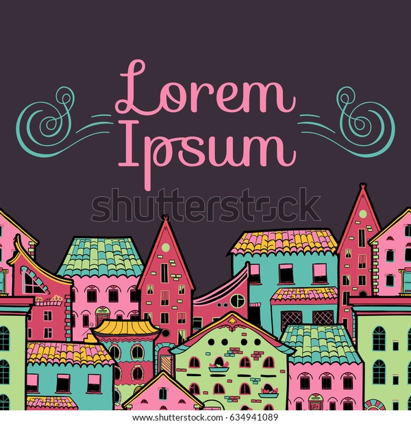 Cute seamless border made of houses in cartoon style, hand-drawn frame with place for text, can be used for invitations, postcards, flyers, cup, card, raster copy of vector file