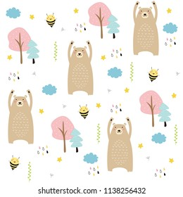 Cute seamless pattern with bear, bee, trees, cloud, rain, star on the white background