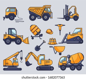 Cute seamless pattern illustration with construction machinery