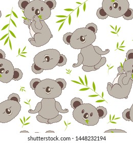 Cute seamless pattern with koalas and eucalyptus. For kid's,baby's shirt design, textile, fashion print, pattern fills, little girls, boys and babies clothes and pajamas. Baby shower design.