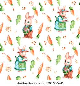 Cute seamless pattern with rabbit family and carrot carrot
