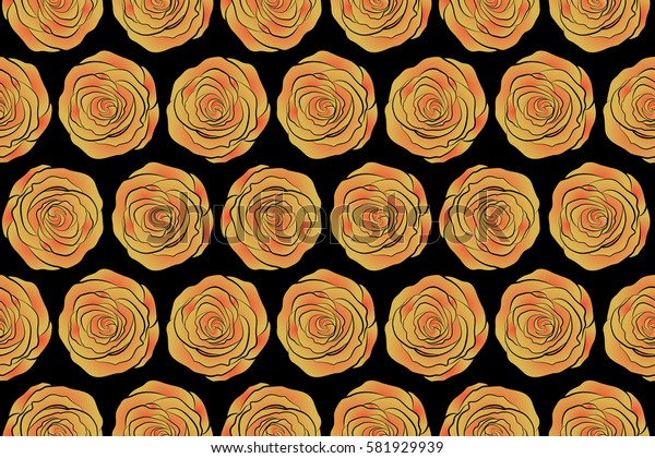 Cute seamless pattern in small rose flowers. Small yellow and red rose flowers on a black background. Raster seamless floral pattern.