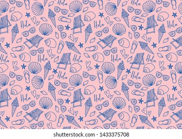 Cute seamless pattern with summer icons. Shells, ice cream, beach chair, sunglasses and flip flops. Hand-drawn illustration