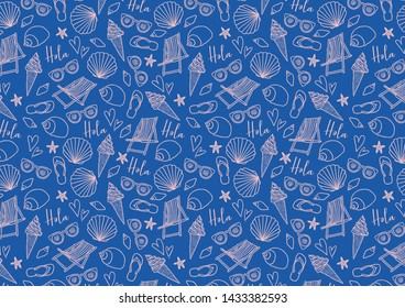 Cute seamless patterns in blue and pink with summer icons. Shells, ice cream, beach chair, sunglasses and flip flops.  Hand-drawn illustration