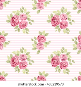 Cute seamless Shabby Chic pattern with roses and stripes ideal for kitchen textile or bed linen fabric, curtains or interior wallpaper design, can be used for scrap booking paper etc