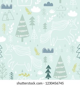 Cute seamless unicorn pattern for kids, baby apparel, fabric, textile, wallpaper, bedding, swaddles with unicorn