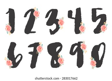 Cute Set of Decorative Painted Numbers With Flowers