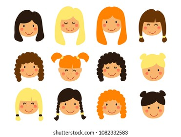 Cute Set of Girl portrait face emotions as different expressions can be used as avatars with variety of teen girl