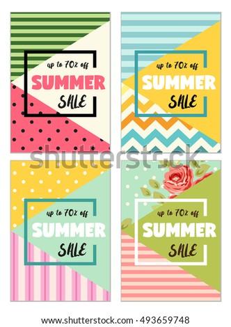 cute set summer spring sale flyerのイラスト素材 493659748 shutterstock