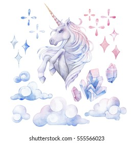 Cute set of watercolor unicorn in pastel colors, fantasy clouds and crystals. Hand drawn design elements isolated on white background