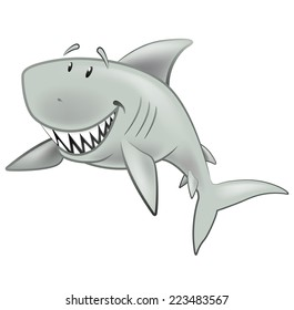 Cute Shark Character. Great illustration of a Cute Cartoon Great White Shark swimming along in the sea.
