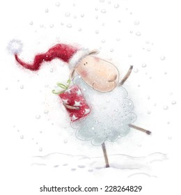 Cute sheep with the gift in Santa Claus hat on snow background. Marry Christmas and Happy New Year greeting card. Winter holidays postcard design.
