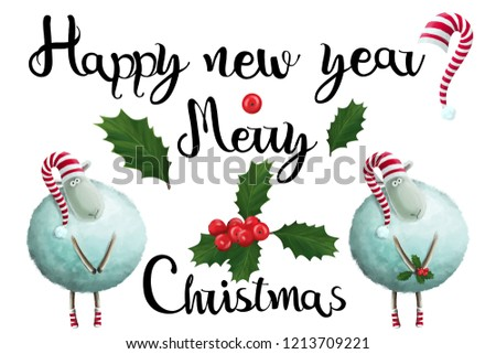 cute sheep in hat christmas new year lettering clip art set on white