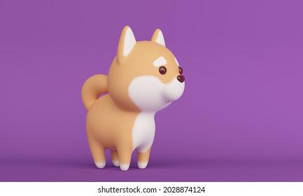 Joli chien Shiba Inu sur fond lilas. Rendu 3d