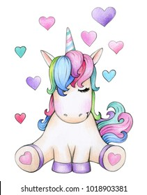 Cute sitting unicorn cartoon with hearts, isolated on white.