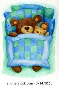 Cute sleeping baby bear in bed, watercolor.