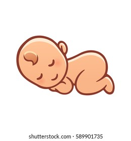 Cute Sleeping Baby Drawing Simple Cartoon Stock Vector Royalty Free