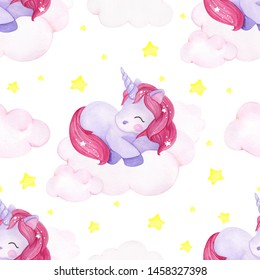 Cute sleeping unicorn on a clouds, with colorful star, seamless pattern for baby print, watercolor hand draw element on white background